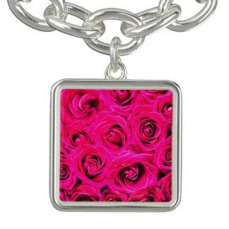 Rosas púrpuras rosados románticos pulsera