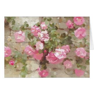 Rosas que suben rosados del efecto floral del tarjeta