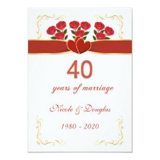 Rosas rojos, aniversario de boda de los corazones invitación 11,4 x 15,8 cm