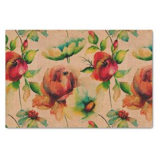 Rosas rojos de las acuarelas en la madera papel de seda