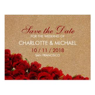 Rosas rojos del estilo elegante postal