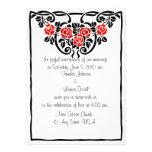 Rosas rojos entrelazados casando invitaciones anuncio