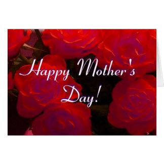 Rosas rojos felices del día de madre tarjeta de felicitación