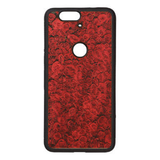 Rosas rojos fundas de madera para nexus s6p