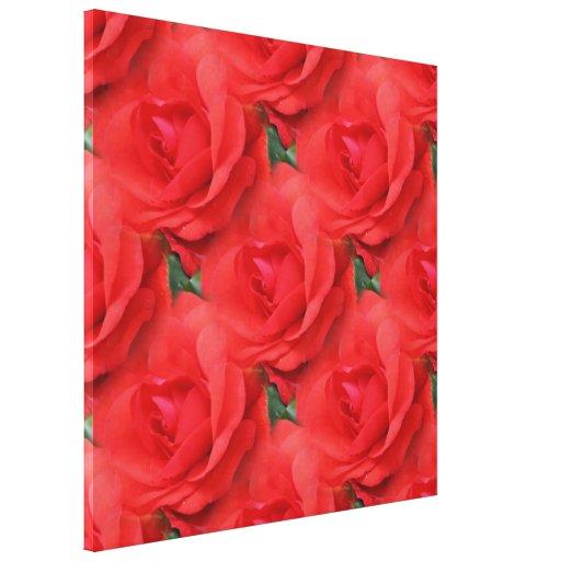 Rosas rojos lona estirada galerías
