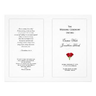 Rosas rojos que casan la plantilla del programa folleto 21,6 x 28 cm