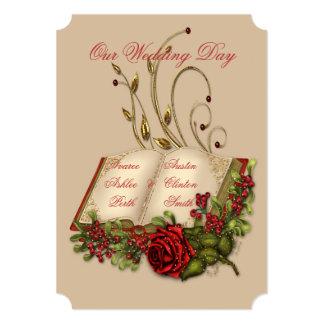 Rosas rojos y boda abierto de la biblia del oro invitación 12,7 x 17,8 cm
