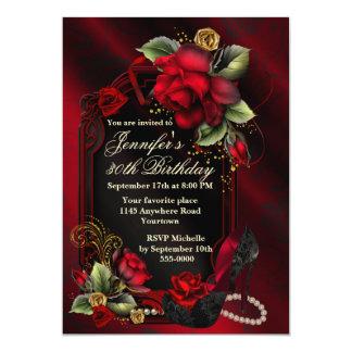 Rosas rojos y cumpleaños negro del adulto del invitación 12,7 x 17,8 cm