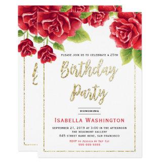 Rosas rojos y fiesta de cumpleaños del brillo del invitación 12,7 x 17,8 cm