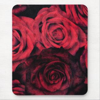 Rosas rojos y negros del lunar alfombrilla de ratón