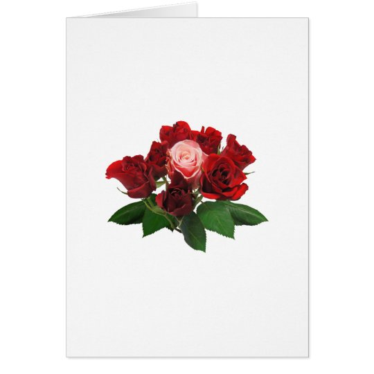 Rosas rojos y un color de rosa rosado tarjeta de felicitación