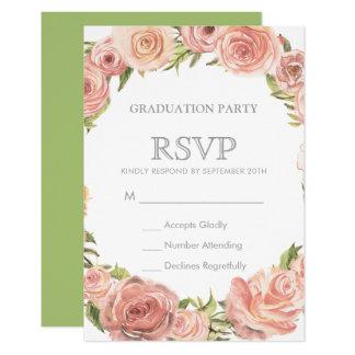 Rosas románticos de la acuarela de RSVP el   de la Invitación 8,9 X 12,7 Cm