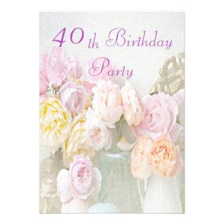 Rosas románticos en la 40.a fiesta de cumpleaños d invitacion personalizada