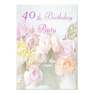 Rosas románticos en la 40.a fiesta de cumpleaños invitación 12,7 x 17,8 cm