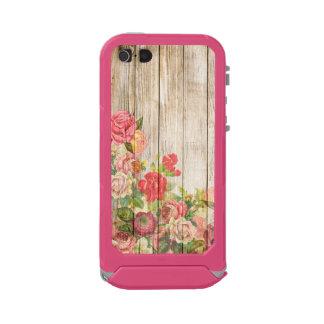 Rosas románticos rústicos del vintage de madera carcasa de iphone 5 incipio atlas id