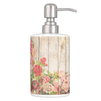 Rosas románticos rústicos del vintage de madera conjunto de baño