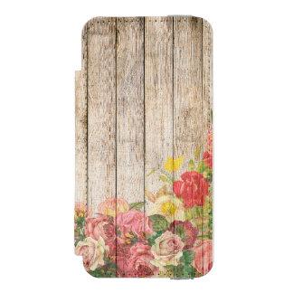 Rosas románticos rústicos del vintage de madera funda cartera para iPhone 5 watson