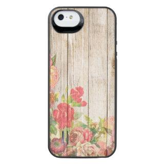 Rosas románticos rústicos del vintage de madera funda con batería para iPhone SE/5/5s