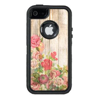 Rosas románticos rústicos del vintage de madera funda OtterBox defender para iPhone 5