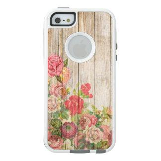 Rosas románticos rústicos del vintage de madera funda otterbox para iPhone 5/5s/SE