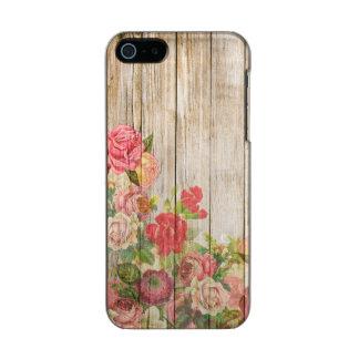 Rosas románticos rústicos del vintage de madera funda para iPhone 5 incipio feather shine
