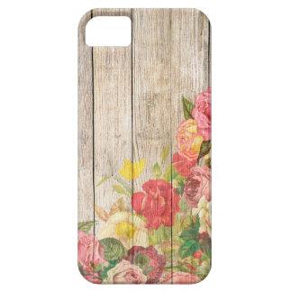 Rosas románticos rústicos del vintage de madera funda para iPhone SE/5/5s