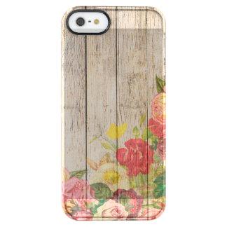 Rosas románticos rústicos del vintage de madera funda transparente para iPhone SE/5/5s