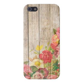 Rosas románticos rústicos del vintage de madera iPhone 5 cárcasa