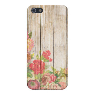 Rosas románticos rústicos del vintage de madera iPhone 5 cárcasas