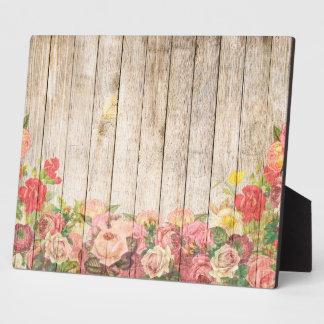 rosas romnticos rsticos del vintage de madera placa expositora