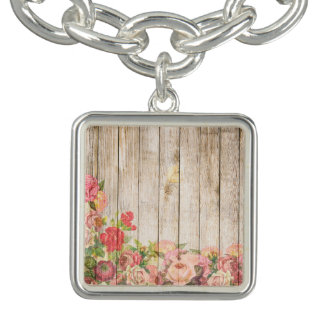 Rosas románticos rústicos del vintage de madera pulseras