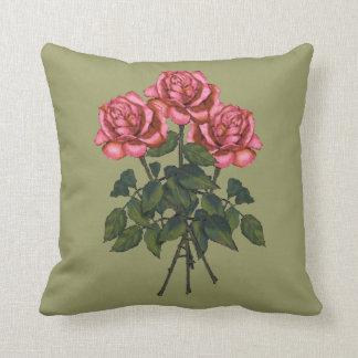 Rosas rosados: Arte del lápiz del color: Floral, f Cojin