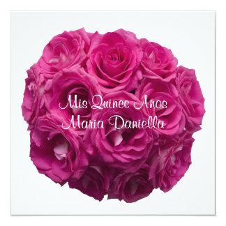 Rosas rosados bonitos de Quinceanera en blanco Invitación 13,3 Cm X 13,3cm
