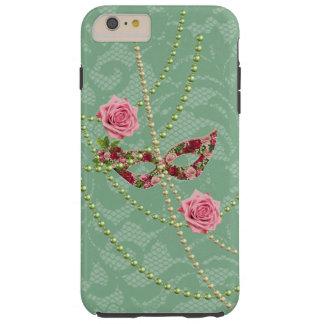 Rosas rosados bonitos mascarada y de las perlas funda resistente iPhone 6 plus