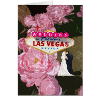 Rosas rosados de Las Vegas que se casan, tarjeta d