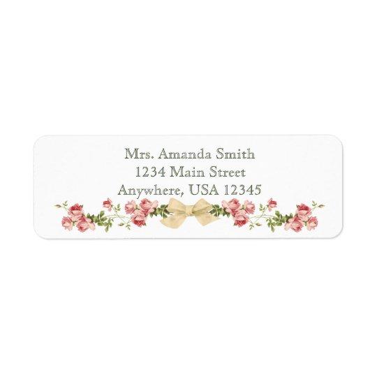 Rosas rosados del vintage el   personalizado etiqueta de remite