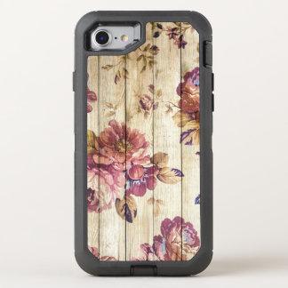 Rosas rosados del vintage en el caso de madera del funda OtterBox defender para iPhone 7