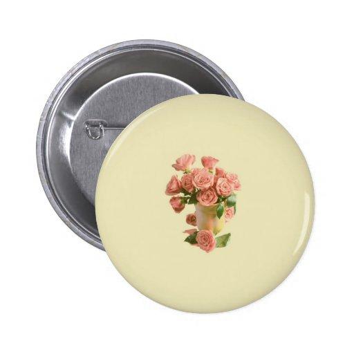 Rosas rosados del vintage. Flores retras Pin