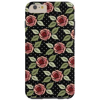 Rosas rosados femeninos punteados funda resistente iPhone 6 plus