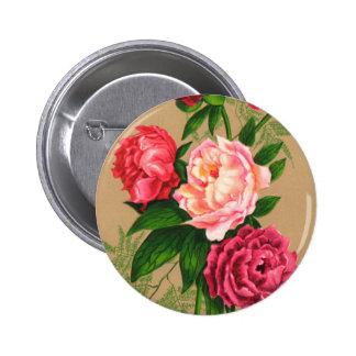 Rosas rosados florales del vintage lindo chapa redonda de 5 cm