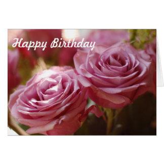 Rosas rosados hermosos tarjeta de felicitación