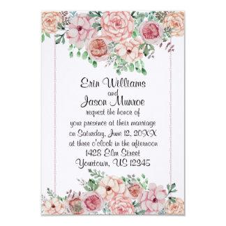 Rosas rosados invitación 8,9 x 12,7 cm
