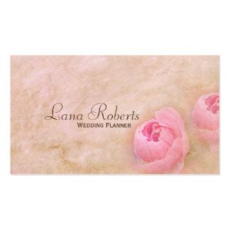 Rosas rosados que casan tarjetas de visita del