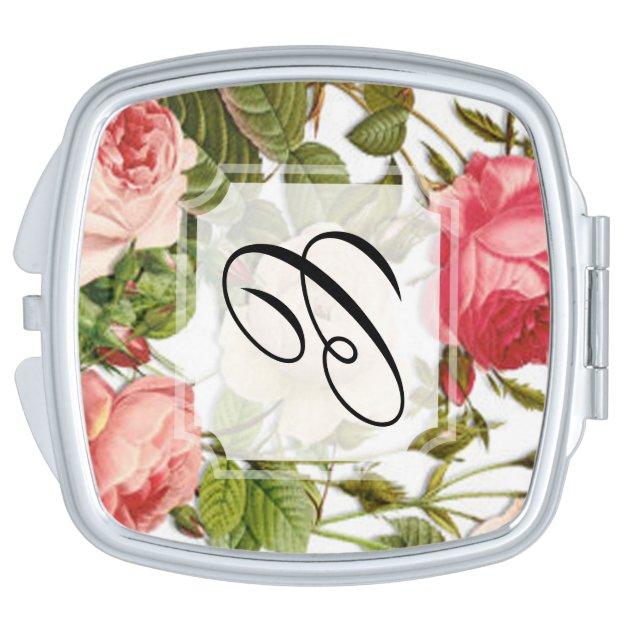 rosas rosados romnticos florales del vintage del espejos de viaje zazzle