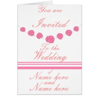 Rosas rosados y rayas que casan las invitaciones tarjeta de felicitación