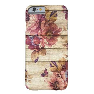 Rosas rústicos románticos en el caso de madera del funda barely there iPhone 6