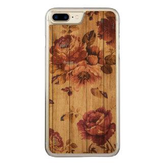 Rosas rústicos románticos en el caso de madera del funda para iPhone 7 plus de carved