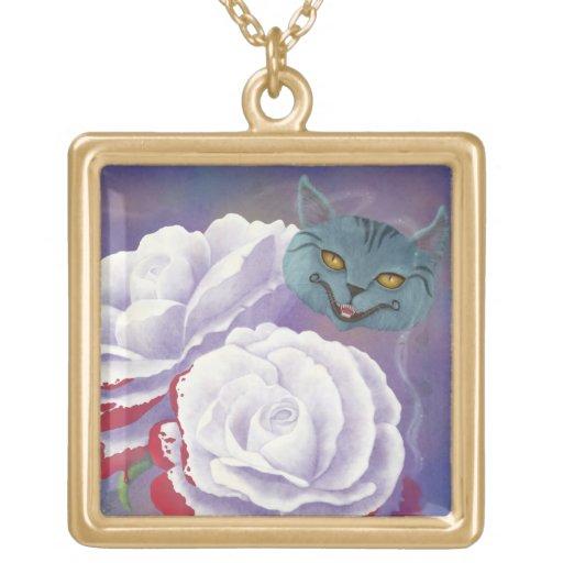 Rosas y collar pintados del gato de Cheshire