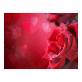 rosas y corazones postal