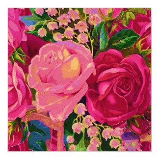 Rosas y lirio de los valles invitación 13,3 cm x 13,3cm
